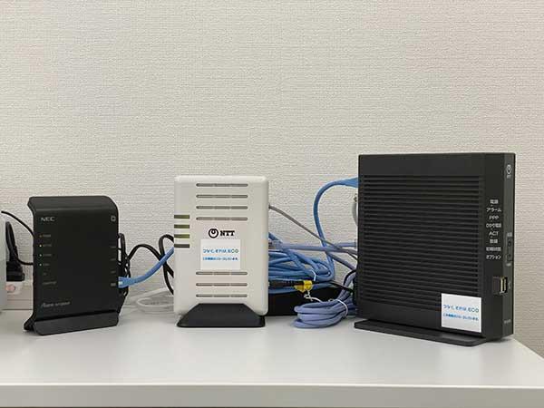 NTTのVDSLモデム、ONU(HGW)、NECのルーター